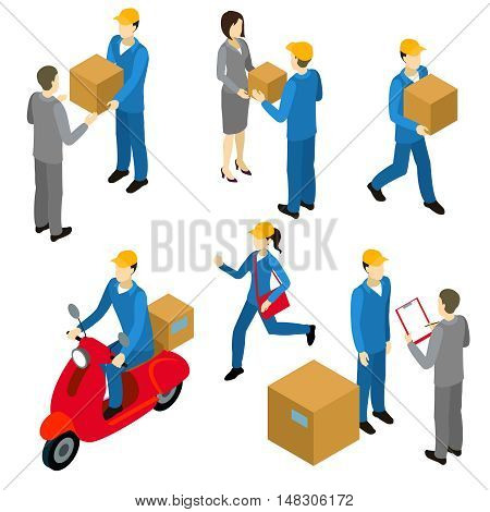 Delivery isometric characters set with couriers in uniform and transfers of cartons to businesspersons isolated vector illustration