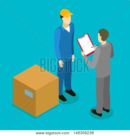 Client delivery isometric composition with courier businessperson and big carton on blue background vector illustration