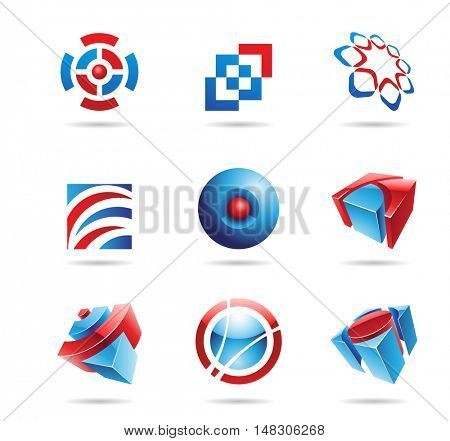 Abstract blue and red icon set isolated on a white background