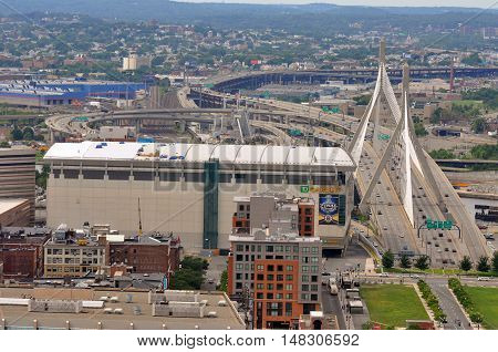 BOSTON - AUG 13: Aerial view of Zakim Bunker Hill Bridge and TD Banknorth Garden on August 13, 2011 in Boston, Massachusetts, USA.