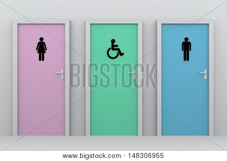 three toliet doors for women disabled persons and men. Each one has his own pictogram. 3d render, 3d illustration