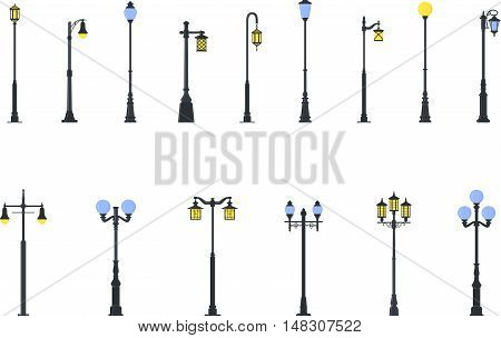 Detailed illustration colored street lamps isolated in flat style on white background.