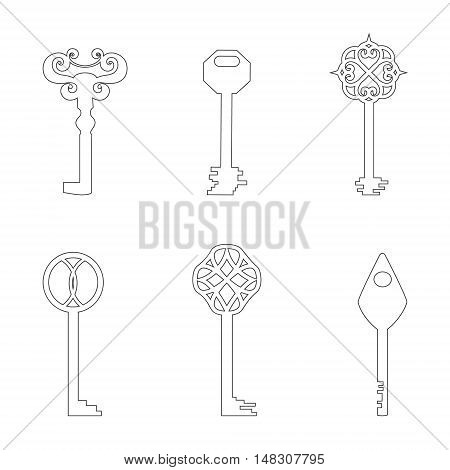 Set with Classic Keys Made in Contour. Simplistic Style. Line Vector Icons