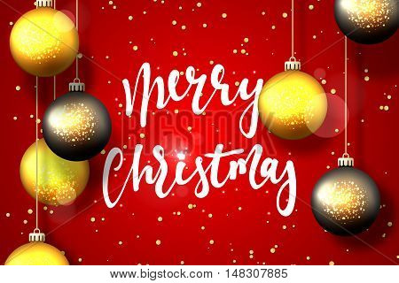 Merry Christmas and Happy New Year card design. Text handmade calligraphy Merry Christmas. Red background with snowflakes and bright highlights, Christmas balls, greeting card