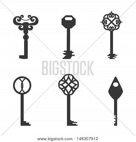 Set with Classic Keys Made in Simplistic Flat Style. Line Vector Icons