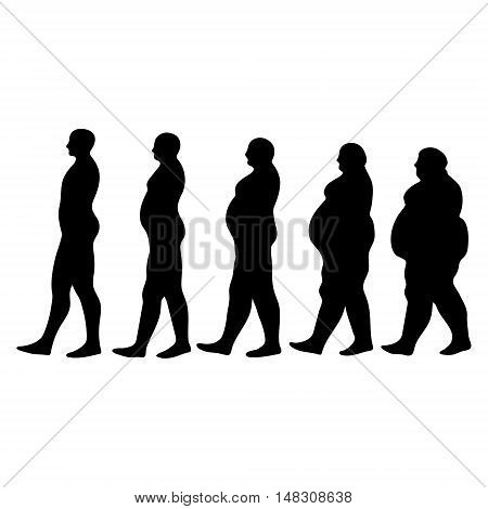concept of slimming silhouettes of men walking people seeking to reduce weight, slimming silhouettes men vector illustration for print or design medical website