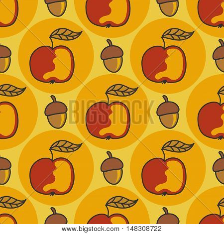 Autumn pattern with apples, nuts. Doodle on a yellow background.