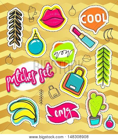 Patches and hand draw, stickers collection. Fashion patch cartoon comic style.