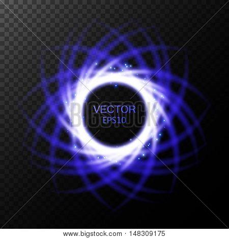Glow light effect, Swirl trail effect on transparent background, Magic round frame