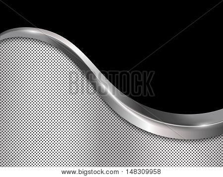 Silver and black metallic background, Abstract vector illustration with smooth lines