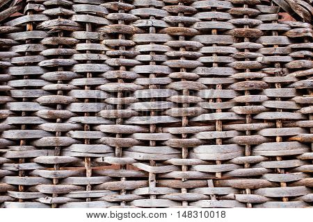 Wicker wood pattern background. hand-made. Light from the window