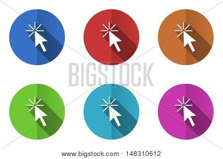 Flat design vector click here icon set. Eps 10 web colorful buttons.