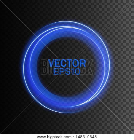 Abstract blue swirl circle on transparent background, Vector illustration for you modern design