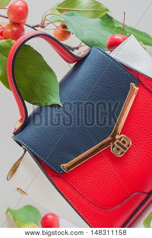Fashionable women's bag from the three colors of the skin close-up, light background, decorated with red apples, vertical