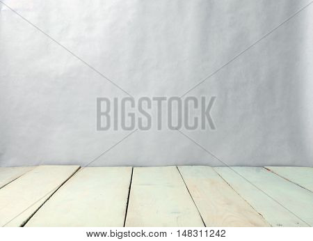 abstract white wooden floor and wall background, horisontal