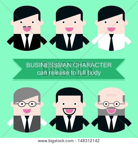 Set of businessman characters. Can release clipping mask to full body. Flat design for business financial marketing banking advertising commercial web internet minimal concept cartoon illustration.