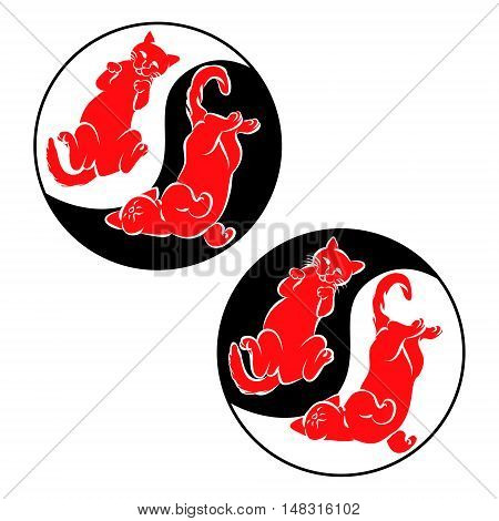 The Eastern symbol of harmony two cats lie on their backs in a circle vector illustration.