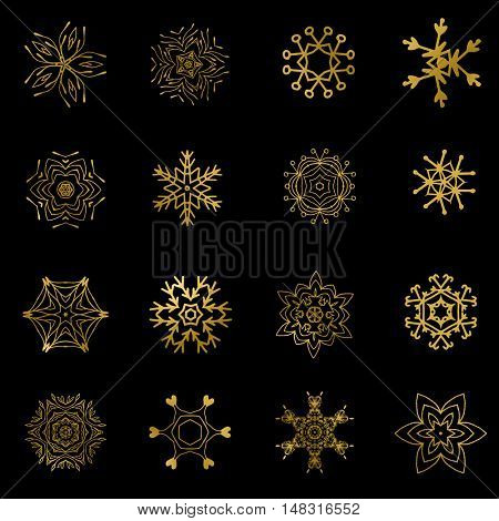 Set of beautiful different snowflakes. Gold snowflakes on black background. Christmas snowflakes. New year golden snowflakes set.