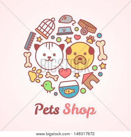 Flat line style pets shop illustration in the form of a circle. For pets shop or veterinary  logo design concept. Goods for animals, vector icons set isolated on white background