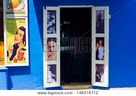 CARTAGENA COLOMBIA - MAY 23: Entrance to a cigar shop in Cartagena Colombia on May 23 2016