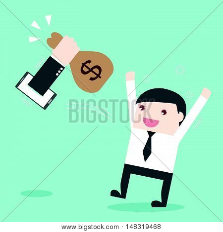 Businessman happy with online business. online shopping. mobile banking. Flat design business financial online marketing banking commerce vector concept cartoon illustration.