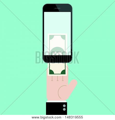 Insert money to transfer with hand and smart phone. online shopping. mobile banking. Flat design business financial online marketing banking commerce vector concept cartoon illustration.