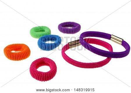 Various colorful scrunchies isolated on white background with clipping path