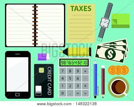 Tax Calculator Calculating Machine In Top View