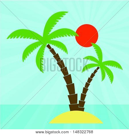 Island with coconut palm in the blue sea vector. Flat design for business financial marketing banking advertisement commercial web internet tourism tourist travel holiday in minimal concept cartoon illustration.