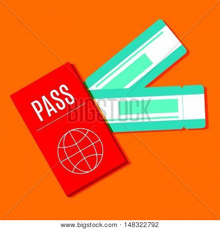 Passport and boarding pass airline ticket. Flat design for business financial marketing banking advertisement commercial web internet tourism tourist travel in minimal concept cartoon illustration.