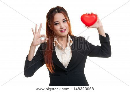 Asian Business Woman Show Ok With Red Heart.