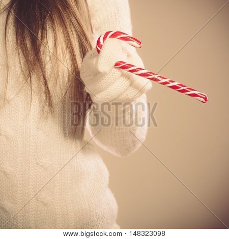 Girl With Sweet Candy Cane.