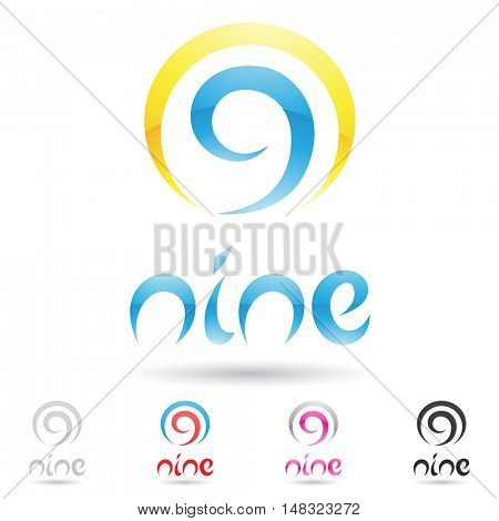 illustration of colorful and abstract icons for no nine