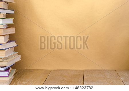 stack book on wooden tablewith empty space