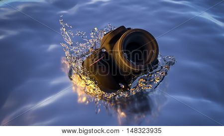 DSLR Camera Dropped In Water. 3D Render.