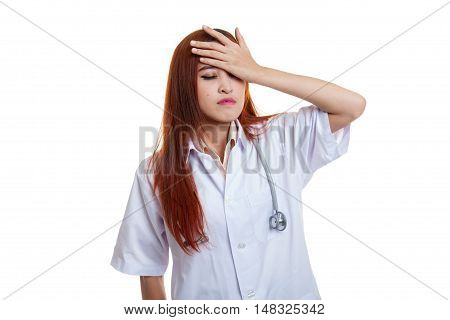 Asian Young Female Doctor Got Headache.