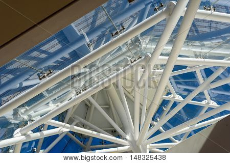 Diagonal Roofing Strut Abstract Interior And Blue Sky