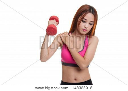 Asian Healthy Girl Got Shoulder Pain With Dumbbell.