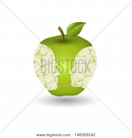 Green apple with faces of boy and girl silhouettes. Vector illustration.