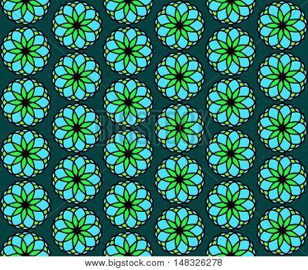 Seamless symmetric pattern floral arrangement. Vector illustration.