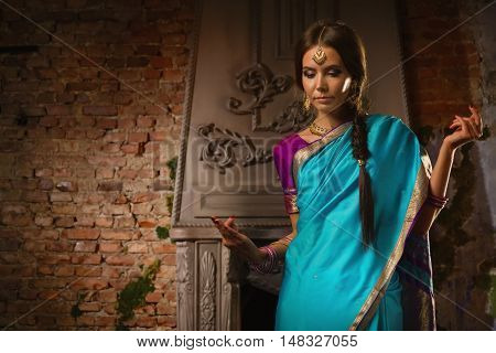Beautiful Young Woman In Traditional Indian Clothing