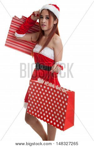 Asian Christmas Santa Claus Girl With Shopping Bags.