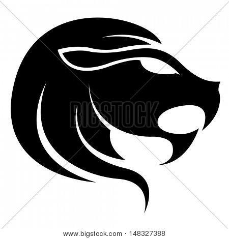 Illustration of Black Leo Zodiac Star Sign isolated on a white background