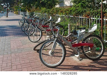 Rent parking bicycles in tourist center of Alanya. Turkey.
