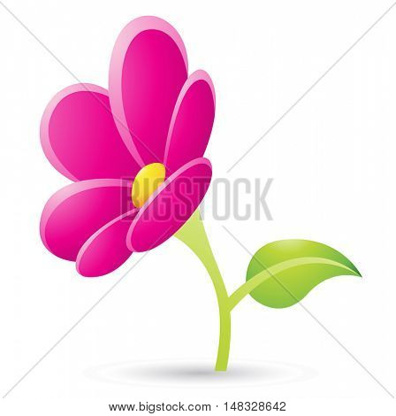 Illustration of Magenta Flower Icon isolated on a white background