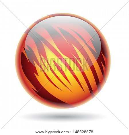 Illustration of Red and Yellow Glossy Planet Sphere isolated on a white background