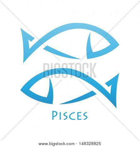 Illustration of Simplistic Lines Pisces Zodiac Star Sign isolated on a white background