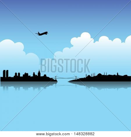 Illustration of Istanbul and Blue Sky background