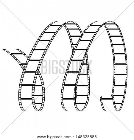 Illustration of Curly Film Reel Forming Letter M isolated on a white background