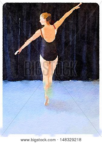 Digital watercolor painting of a ballerina wearing a black leotard and ballet shoes in a pose on pointe and with her arms in a line. Space for text.